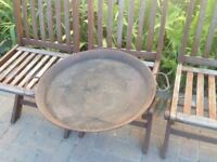 Large rusty metal platter with two handles