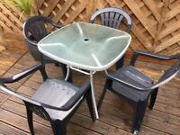 Garden Metal Glass Table + Four Chairs