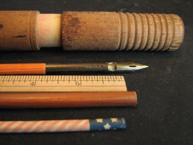 Antique Wood Round Writing Pencil Box w Contents