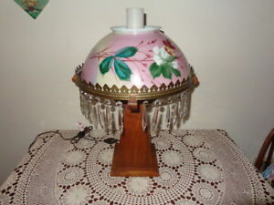 Vintage Hand Made Lamp with Hand Painted Glass Shade