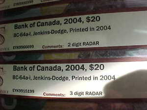 Five Choice UNC 2004 RADAR $20 With Same Prefix EYK Rare!! London Ontario image 7