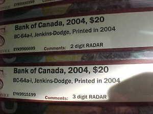 Five Choice UNC 2004 RADAR $20 With Same Prefix EYK Rare!! London Ontario image 7