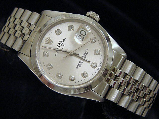 Mens Rolex Date Stainless Steel Watch Ss Domed Bezel Silver Diamond Dial 1500