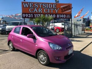 2015 Mitsubishi Mirage LA MY15 ES Pink 5 Speed Manual Hatchback Hoppers Crossing Wyndham Area Preview