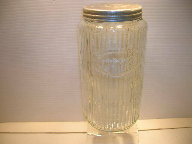 VINTAGE SELLERS GLASS RIBBED COFFEE CANISTER TIN LID HOOSIER