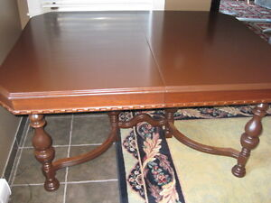 100+ Year Old Solid Wood Dining Rm Table 5 Chairs Ornate Sidebd