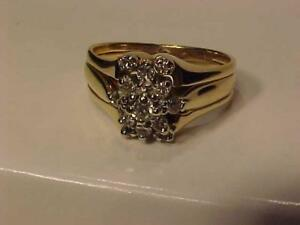 #2105-14K W/Y/Gold 3 RING JOINED DIAMOND CLUSTER-Size 7 1/4-APPRAISED $2,550.00-SELL $675.00 LAYAWAY-ACCEPT INTERAC TRA