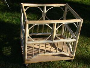 Rattan Toy Box  Cart