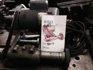 Duplex 0.75 and 1 hp tool post grinders, 115/208 volt 1 phase, good condition.