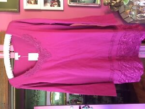Beautiful Capture by Ezibuy Berry Pink Layering Tunic Top with Lace Size 14 NWT