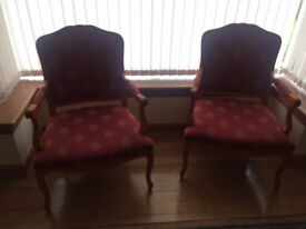 Two matching French style occasional Armchairs