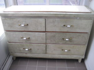 VINTAGE RUSTIC WOOD CREDENZA CABINET 6 DRAWERS