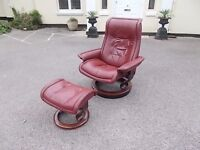 Ekornes Stressless Leather Recliner Armchair with Footstool,Can Deliver