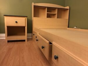 Twin Bed and Night Table