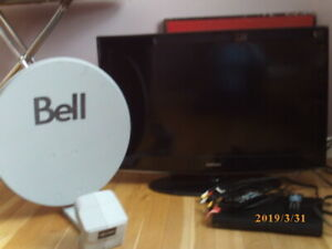 Samsung TV,  Bell receiver, Bell satellite dish