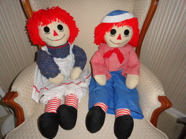 Vintage HANDMADE Pair of Raggedy Ann and Raggedy Andy Dolls w/Embroidered Faces