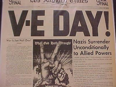 Vintage Newspaper Headline World War 2 Nazi Army Surrenders Victory V E Day Wwii