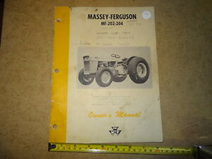 MASSEY FERGUSON MF-202-204 TRACTOR OWNERS MANUAL