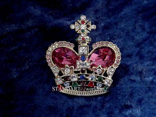 Queen Victoria British Royal CROWN BROOCH Pin with presentation case