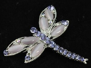 Lavdender-purple-crystal-cateye-bead-silver-plated-dragonfly-Brooch-pin-clip