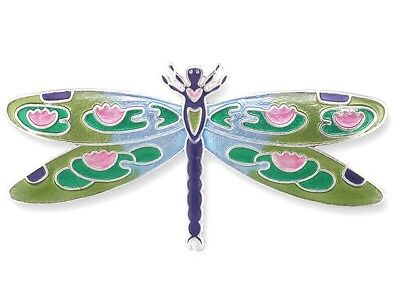 Sterling Silver Dragonfly Pin (Zarah Zarlite Dragonfly Montage Lily Pad Pond Pin Enamel Sterling Silver)