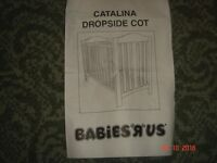 Catalina dropside wooden baby's cot (and mattress pvc cover) (from Babies R Us) SORRY NO OFFERS