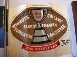 1950S CFL WESTERN CONFERENCE STAR WEEKLY CLOTH CREST