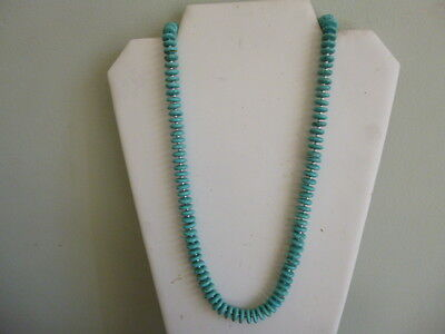 Turquoise Howlite Heishi Bead And Silver Native Southwestern Style Necklace