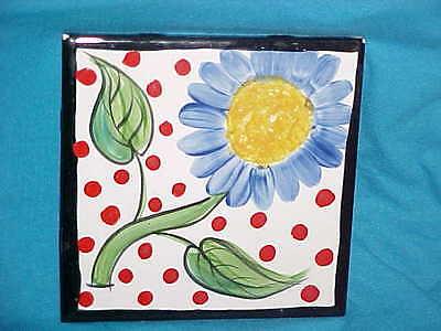 Mexican Tile Art Big Blue Sunflower & Red Polka Dots  on Daltile Trivit