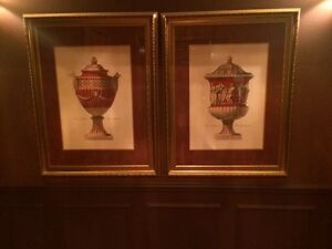 2 large framed and matted pictures of vases London Ontario image 1