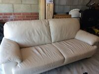 DFS cream leather 3-seater sofa