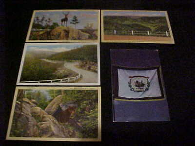 WV, lot of 5 misc postcards, linen/chrome, State Flag, etc, FREE SHIP
