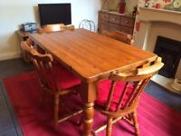 Solid Pine Farmhouse Table, Chairs and Sideboard