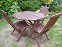 Wooden Folding Garden Table & 3 Chairs