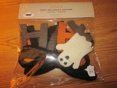 Pottery Barn Kids Felted WOOL Happy Halloween Ghost Banner Garland New In Pkg