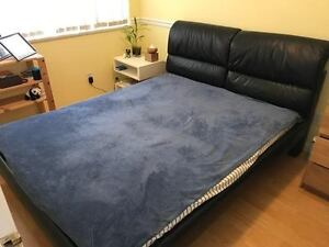 Queen Bed Frame with leather headboard