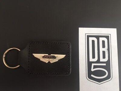 Vintage 1960s Aston Martin David Brown black leather key ring fob - Very Rare