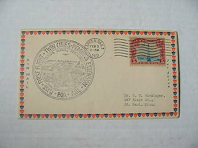 U S  First Flight Route Am 9 Twin Cities   Pembina 1931 Cachet Cover   Very Fine