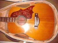 YAMAHA FG 300 1973 ACOUSTIC GUITAR WITH HISCOX HARD CASE
