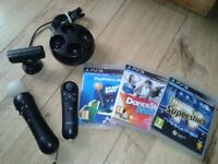 sony ps3 -psvr-move controller. motion controller, camera..charger & games bundle