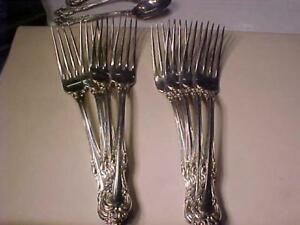 "BIRKS LAURENTIAN PATTERN 8 FORKS 7 1\4"" LONG 12.1 TROY OUNCES OF STERLING(377 GRAMS) OTHER PIECES AVAIL-SEE MY POSTINGS"
