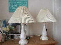 Pair of ceramic lamps and matching lampshades