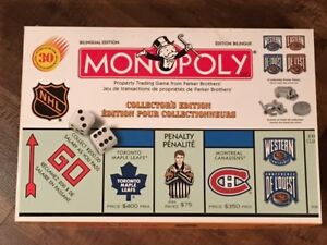 NHL MONOPOLY GAME (LIKE NEW) Bilingual Collectors Edition