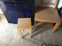 teak ikea coffee table and side table