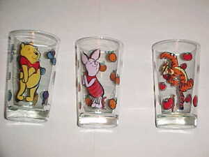 WHINNY THE POOH  (3) CHARACTER DRINKING GLASSES