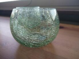 x3 large green / aqua tea light (tealight) holders - crackled glass