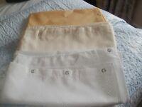 Set of 3 Good Quality Shower curtains, white/Cream & Lemon