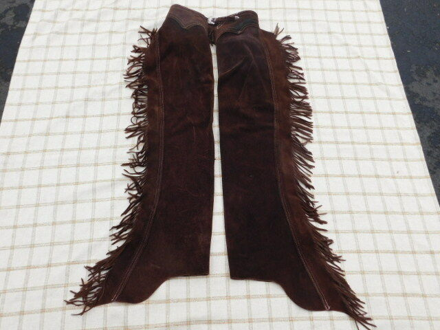 LEATHER SUEDE BROWN WESTERN FRINGED CHAPS WITH STERLING VOGT CONCHOS BELT BUCKLE