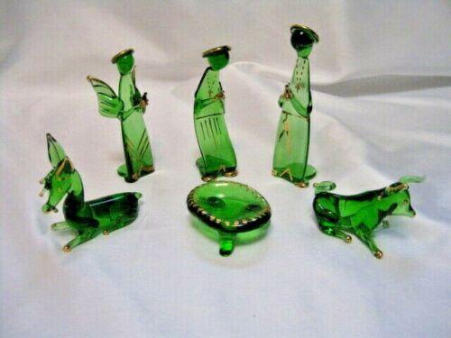 Green Glass Nativity - 6 Pieces