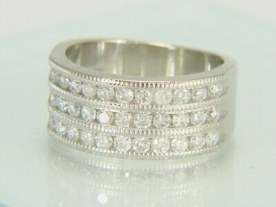 14K White Gold 3 Row Round Cut 1.00ctw Natural Diamond Wide Band Ring Size 5.75